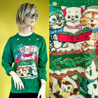 Vintage Kitten Ugly Christmas Sweater by Nutcracker Kitsch, Cat, Kawaii, Green, xmas party, cute, 90s