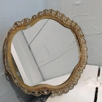 Vintage, Vanity Tray, Small, Mirrored, Fleur de Lis Pattern, Filigree, Mirrored Tray, Vintage, Gold, Mid Century Modern, RhymeswithDaughter