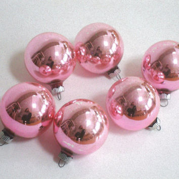 VINTAGE PINK ORNAMENTS - Faded -  Light - Shiny Brite - Mercury Glass - Christmas - Solid - 6 Pastel