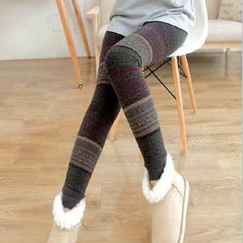 Christmas Winter Thick Warm Leggings For Women Black  Fitness Punk Velvet Fleece Lined Leggings MF785421