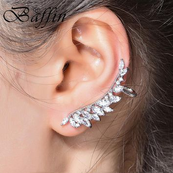 BAFFIN 2018 Fashion Wing Ear Cuff Cubic Zirconia Clip Earrings For Women Wedding Party Piercing Earrings Bijoux Christmas Gifts