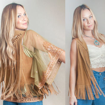 1970s Genuine Suede Fringe Vest | Tan Light Brown 70s Vintage Leather Vest | Boho Hippy Flower Child Western Festival Vest size small medium