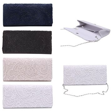 New 1Pc Woman Ladies Lace Floral Satin Party Evening Clutch Wedding Bridal Purse Bag