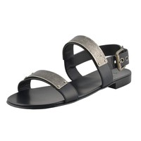 "Giuseppe Zanotti Homme ""ZAK"" Men's Black Leather Sandals Shoes"