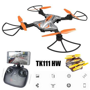 TKKJ TK111 HW Wifi FPV 720P HD Camera Foldable RC Quadcopter Drone w/ Flight Plan Route App Control & Altitude Hold Function RTF