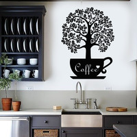 Vinyl Wall Decal Coffee Beans Shop Tree Kitchen Decor Stickers (ig3557)