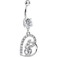 Clear Gem Bright Twisted by Love Heart Dangle Belly Ring | Body Candy Body Jewelry