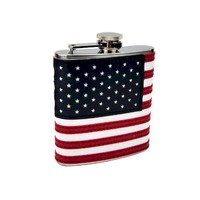 Top Shelf Flasks Stitched American Flag Flask, 6 oz