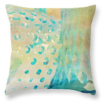 Decorative Pillow Square or Lumbar ABSTRACT WATERCOLOR design, home decor, dorm decor, yellow turquoise cream, pillow cover, cushion cover