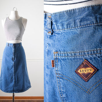 1970s Levi's Denim Skirt | Blue Jean Skirt High Waisted Skirt MIDI Skirt Boho Chic 70s Skirt Vintage Levi Jeans Hippie Festival Pencil Skirt