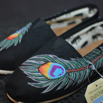 Peacock feather TOMS by blakebarash on Etsy