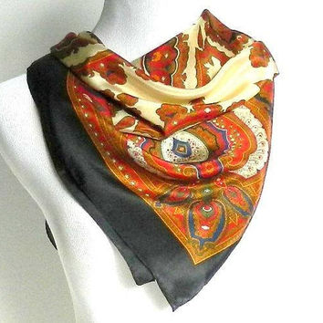 Vintage Silk Scarf, Echo Designer Silk Scarf, Fall Scarf, Autumn Colors, Large Square Print Scarf.