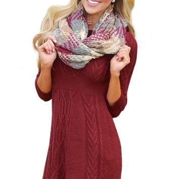 Mode Fashion Burgundy Cable Knit Fitted Sweater Dress