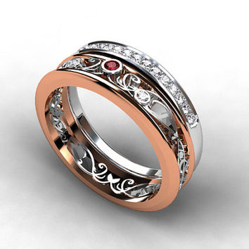engagement ring set, Filigree ring, red sapphire engagement ring, diamond ring, eternity, diamond wedding, rose gold engagement, lace, red