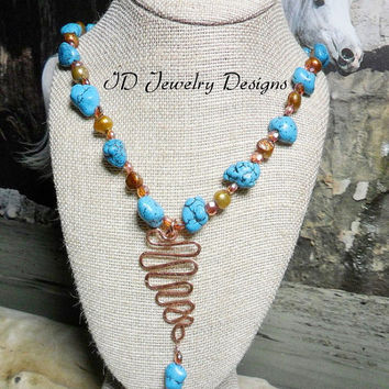 Western Inspired Turquoise Nugget Stones ,Freshwater Pearl Copper Wire Czech  Glass Necklace