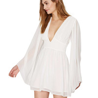 White Plunging Flared Sleeves Chiffon Dress