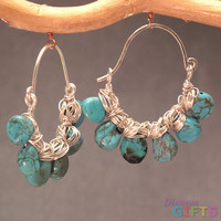"Hammered hoops with turquoise, 1-1/2"" Earring Gold Or Silver"