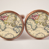 18mm Cuff LInks Vintage World Map Cufflinks Resin by artyscapes