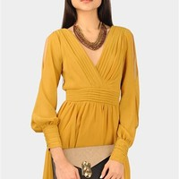 Waverly Cut Out Dress - Mustard at Necessary Clothing