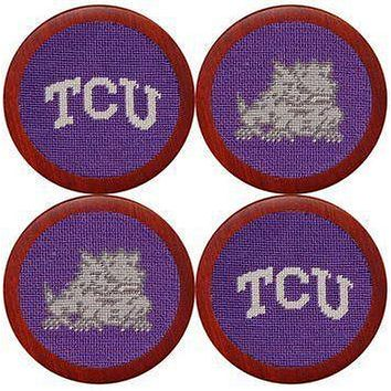 Texas Christian University Needlepoint Coasters in Purple by Smathers & Branson