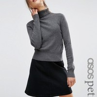 ASOS PETITE Sweater With High Neck in Rib at asos.com