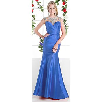 Cinderella Divine CJ221 Royal Blue Cut Out Back Beaded Collar Satin Sheath Prom Gown