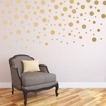 120pieces/package Gold Polka Spot Confetti Dots Wall Decals for Baby Nursery Mixed sizes Peel and Stick Wall Stickers Home Decor