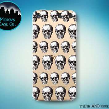 Skulls Pattern Macabre Horror Skull Skeleton Bones Pattern See-Through Clear Transparent Rubber Case for iPod Touch 6th Gen or 5th Gen