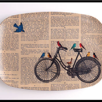 Bicycle Art Print on a Party PLATTER Birds Art by BlackBaroque