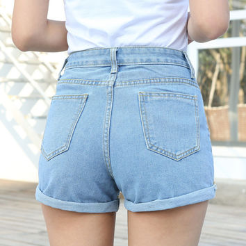CWLSP 2017 Summer High waist Denim Women Shorts Fashion Boyfriend Rolled Short Jeans femme Plus size 3XL pantalones cortos mujer