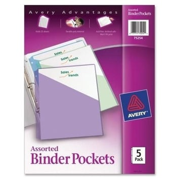 "Avery Consumer Products Binder Pockets,F/3 Ring Binders,8-1/2""x11"",5/PK,Clear"