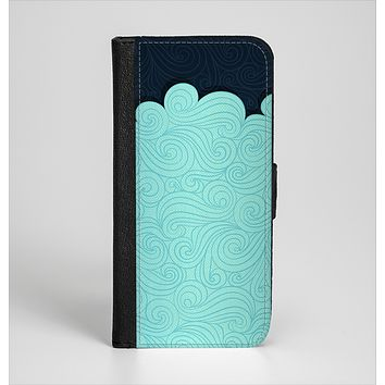 The Tiffany Green Abstract Swirls with Dark Ink-Fuzed Leather Folding Wallet Case for the iPhone 6/6s, 6/6s Plus, 5/5s and 5c