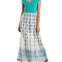 Ivory Combo Print Block Paisley Maxi Dress by Charlotte Russe