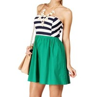 Pre-Order: Navy/Green Back Bow Sundress