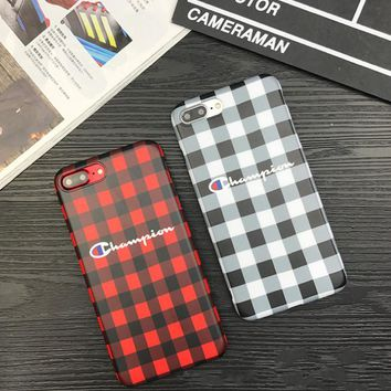 Trendy Plaid Champion Print Iphone 8 8 Plus/ 7 7 Plus/ 6 6s Plus Cover Case