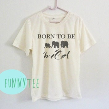Born to be wild tshirt wildlife word Short sleeve tee shirts+off white or grey toddlers shirt +kids girl boy clothes