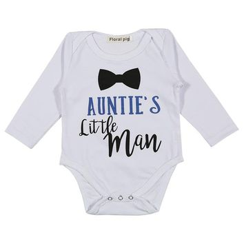 Newborn Baby Boy Clothes Tiny Cottons Long Sleeve Bodysuit Infant Clothing Funny Auntie Little Man 0-18m