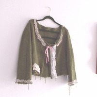 Eco Friendly  Funky Tattered Crop Sweater / Plus Size by KheGreen