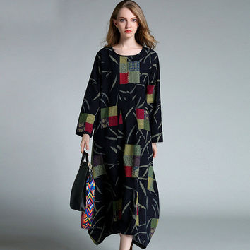 Women Vintage Geometrical Pattern Printed Long Sleeve Oversize Long Dress Muumuu Caftan Dresses