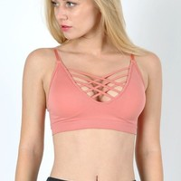 Strappy Padded Bandeau | Blush