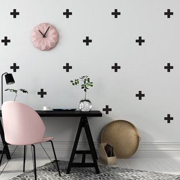Cross Wall Decals, Wall Stickers, Plus sign Wall Decal, Cross Pattern, Plus sign Stickers, Nursery Decal, Pattern Wall,Swiss Cross,Set of 50