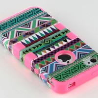 Stylus + For iPhone 4 4S 3-Piece Hybrid High Impact Case Tribal Pink Silicone