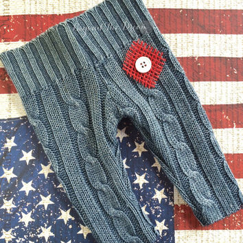 Upcycle Pants, Americana Newborn Prop Pants, Nautical Baby Pants, Red, White and Blue Pants, Newborn Photography, 4th of July Prop