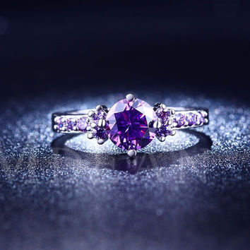Purple Amethyst CZ Diamond Jewelry Engagement Ring (MSR199)