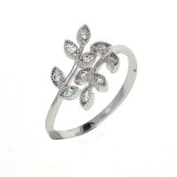 Dear Deer White Gold Plated Cubic Zirconia Olive Branch Leaves Leaf Adjustable Ring