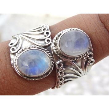 Rainbow Moonstone ring, moonstone silver .925 sterling silver,