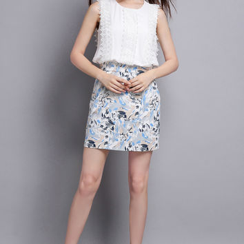 Embellished Sleeveless Blouse and Blue Print Pencil Straight Skirt