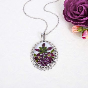 Sterling Silver Filigree Oval Pink & Red Rose Dried Flower Necklace