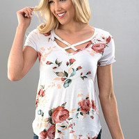 Criss Cross Floral Ivory Blush Shirt