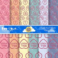 Valentines Digital Scrapbooking Papers for Instant Download. Love Hearts Sweets Scrapbooking Papers. Love Hearts Digital Paper